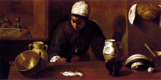 """1620 Веласкес Диего """"Сцена кухни ужина в Эммаусе."""""""