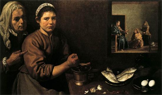 """1620 Веласкес Диего """"Христос в доме Марфы и Марии."""""""