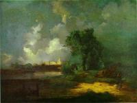 Вид на Кремль с Крымского моста в ненастную погоду.1851
