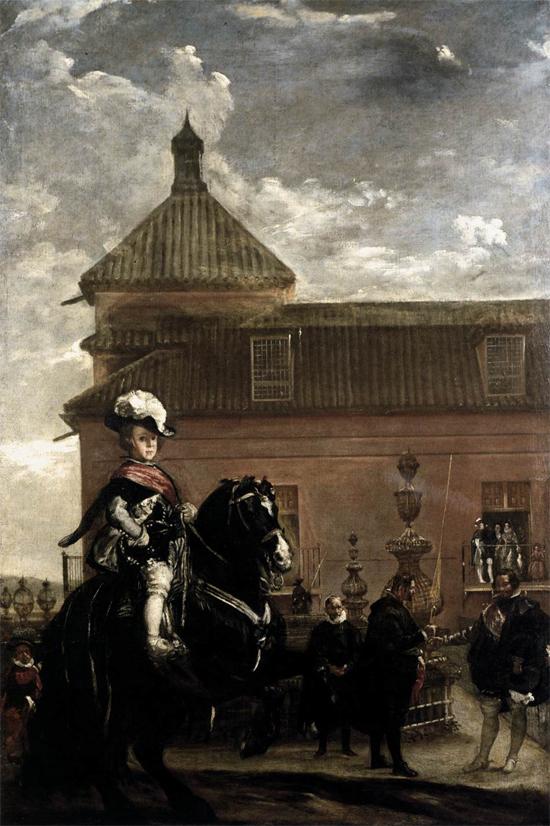 """1636 Веласкес Диего """"Принц Бальтазар Карлос с графом-герцогом Оливаресом в королевских конюшнях."""""""