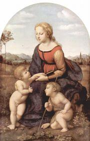 Рафаэль. Мадонна с младенцем и Иоанном Крестителем. 1507. Париж, Лувр